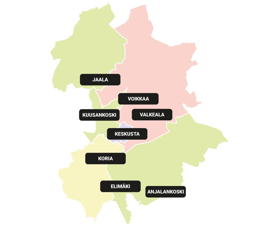 Karttakuva, jossa Kouvola jaettuna kahdeksaan alueeseen Kouvolan Asuntojen asuinalueiden mukaan.